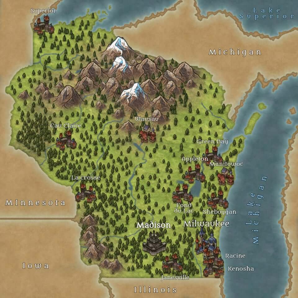 an illustrated map of Wisconsin, styled in fantasy role playing game fashion