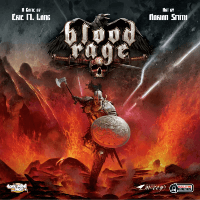 Box cover of board game Blood Rage with armored Viking warrior