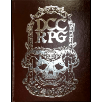 Dungeon Crawl Classic limited edition core rulebook with brown leather cover and silver foil 'DCC RPG' and skull motif