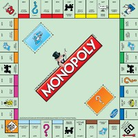 The board of a Monopoly game