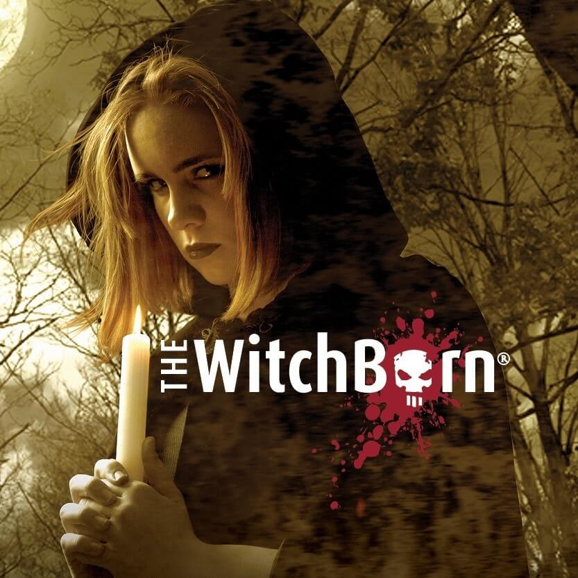 Game box cover of The Witchborn, with a cloaked young woman holding a candle