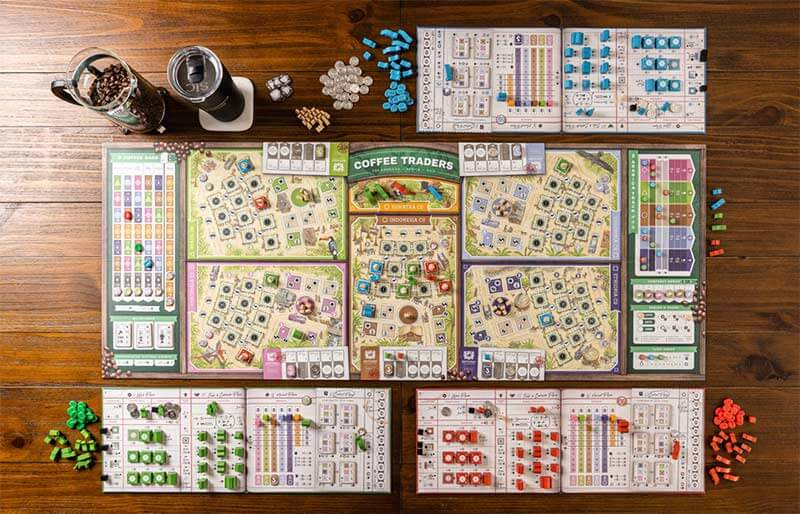 coffee traders board game setup layout table