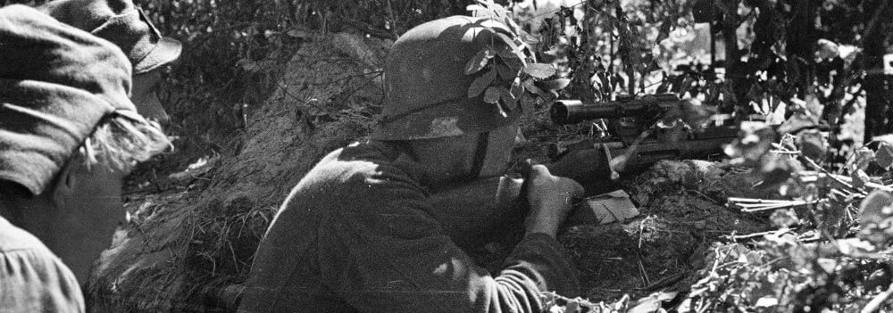 finnish sniper aims at nazi army during operation tanne ost battles for suursaari