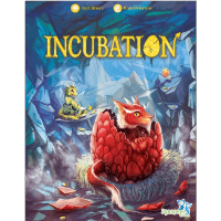 Incubation board game cover with cute cartoon dragons hatching from eggs