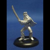 Metal miniature gaming figure in the likeness of Elvis wielding a Samurai sword