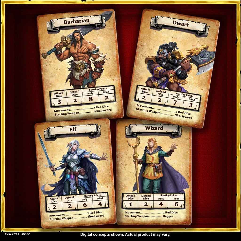heroquest character cards