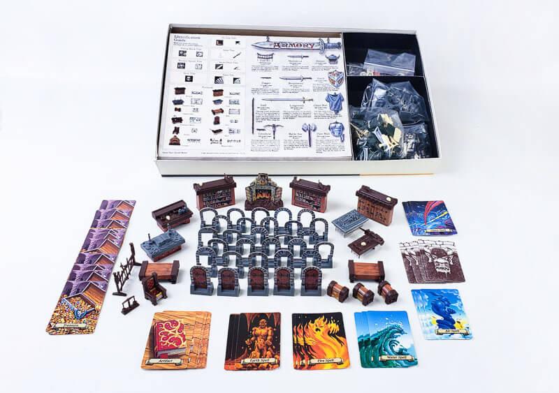 heroquest box contents cards miniatures tiles dice