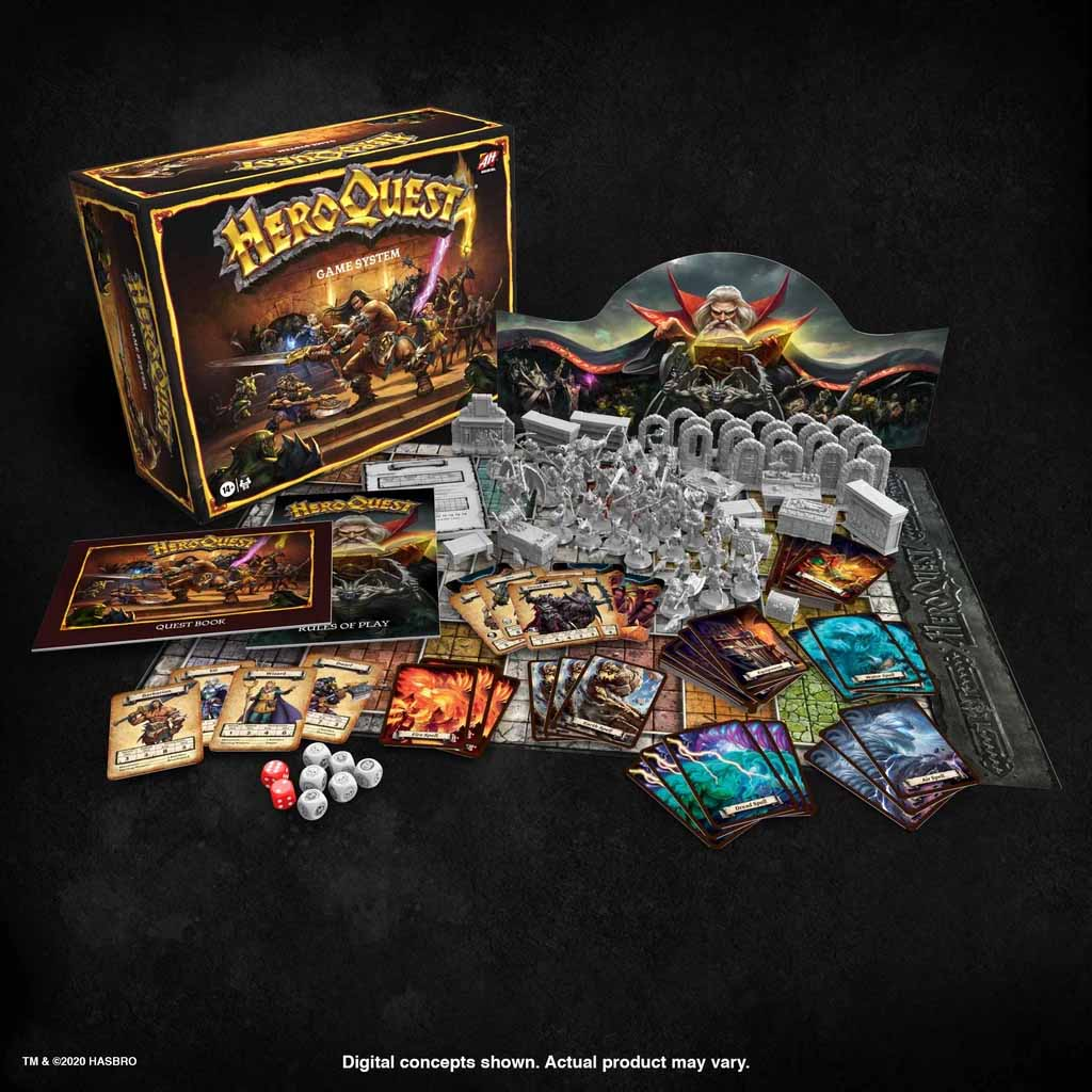 new heroquest game setup contents components
